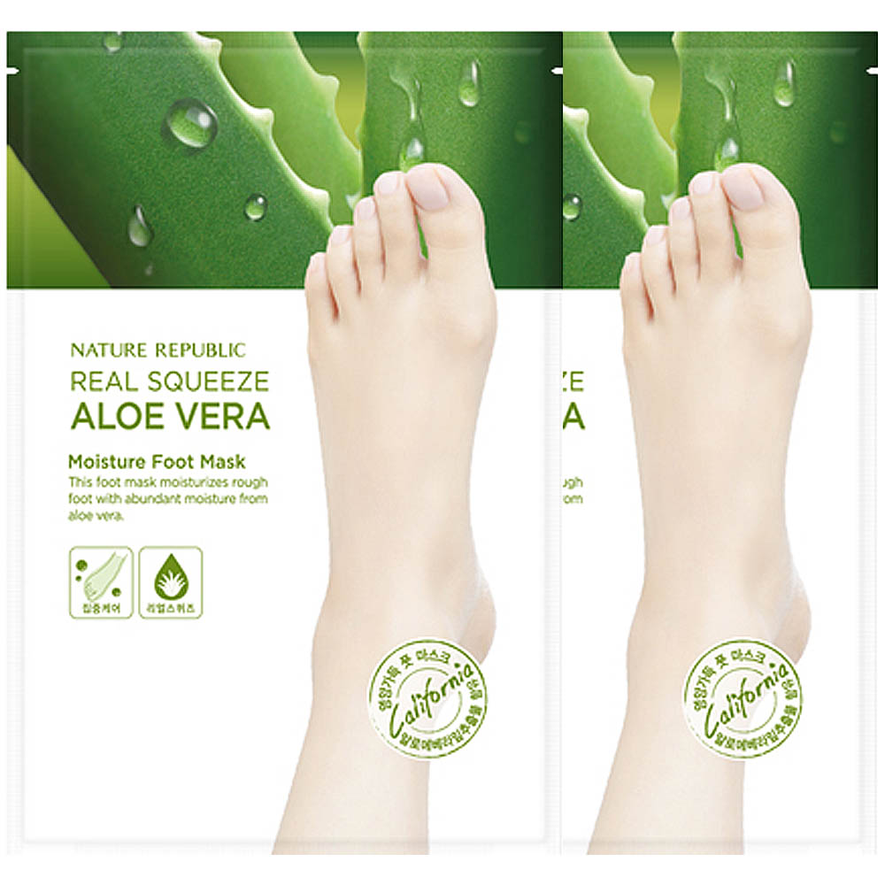 Nature Republic Real Squeeze Aloe Vera Moisture Foot Mask 16ml (2pcs)