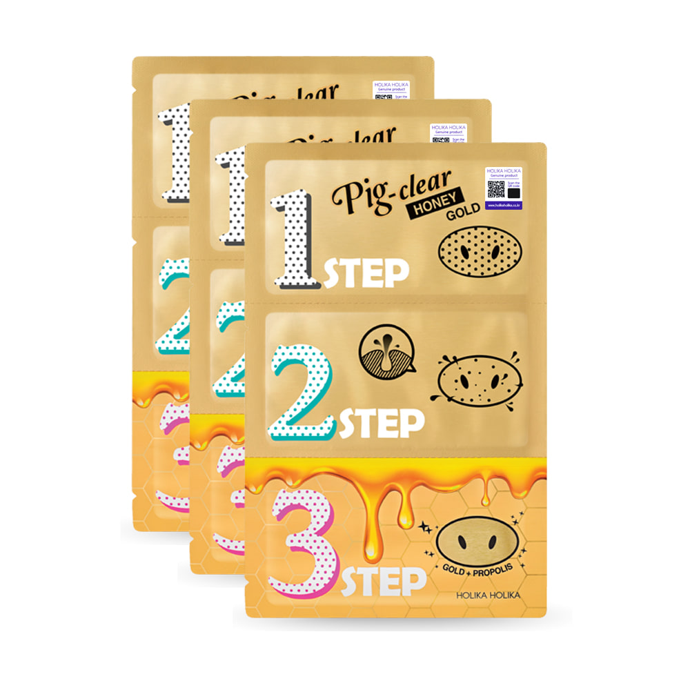Holika Holika Pig Clear Black Head 3-Step Kit - Honey Gold * 3pcs