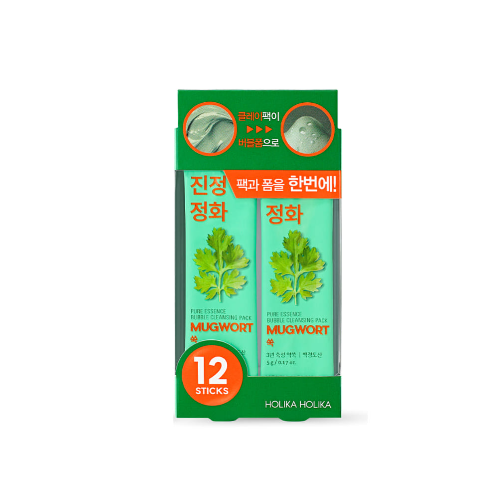 Holika Holika Pure Essence Mugwort Bubble Cleansing Pack (5g x 12ea)