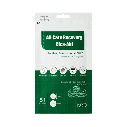 PURITO All Care Recovery Cica-Aid 51 pcs,Blemish Spot, Acne pimple patch
